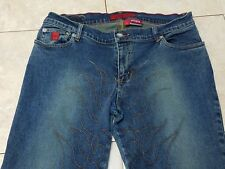 JUNIORS WOMEN'S BONGO LET ME B STRETCH DISTRESSED EMBROIDERED BOOT CUT JEANS 11