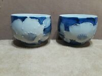 2 Antique Vintage Japanese Porcelain Tea Cups Blue & White Signed Hand Painted