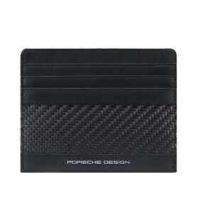 Men RFID card holder Porsche Design Carbon black leather slim and small wallet