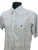 Ralph Lauren Pony Shirt Mens Size S Small Blue Striped Classic Fit Short Sleeve