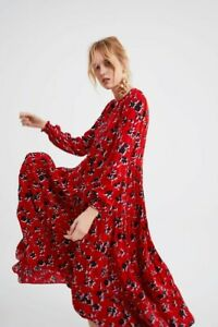 Zara Red Floral Print Floaty Angel Long Maxi Dress Size S Small 8 10