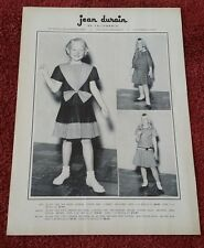 Vintage Jean Durain Little Girl Child Clothing 1958 Print Ad showing prices