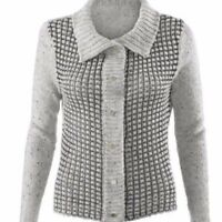 Cabi Womens Size XL Large Gray Button Front Cardigan Front Square Stitch Sweater