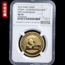 2014 PANDA-CONSTRUCTION BANK 60TH ANNIV. 1oz gold coin G500Y NGC MS70