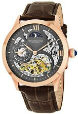 Stuhrling 571 3345k54 Tempest Automatic Skeleton Dual Time Moondial Mens Watch