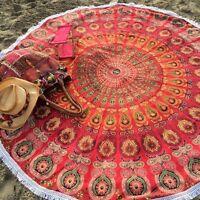 Indian Mandala Beach Throw Tapestry Hippie Wall Hanging Round Yoga Mat Blanket