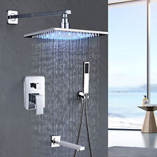 "8"" Chrome Shower Head Faucets Bath Rainfall With ABS Hand Shower Tub Mixer Tap"