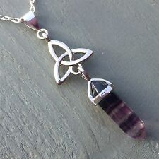 Silver Plated Fluorite Point & Tibetan Silver Triquetra Pendant Celtic Wiccan