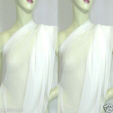 2 YD Bright White Pure Silk Georgette Chiffon Fashion Dress Fabric #snow