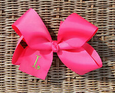 Personalized Embroidered Big Shocking Pink Girl Grosgrain Hair Bow