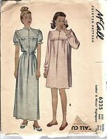 6335 Vintage McCall Sewing Pattern Misses 1940's Nightgown Small 12 - 14 OOP SEW