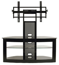 TransDeco TV Stand with Mount Glass Shelves Video Console - NEW