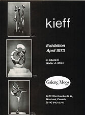 1970s Vintage 1973 Kieff Exhibition Galerie Moos Montreal Art Gallery Print AD
