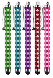 """Pack of 5 Polka Dot Stylus Touchscreen Pen for Prestigio Grace 5718 4G 8"""" Tab"""