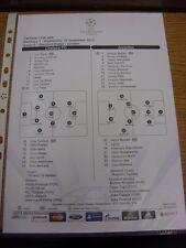 19/09/2012 COLORI teamsheet: Chelsea V JUVENTUS CHAMPIONS LEAGUE [] (Tactical LIN
