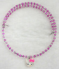 Pink Bow White Hello Kitty Face Choker Necklace Memory Wire Sparkle Glitter Cat