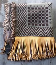 Kris 100% Wool Throw Reversible Brown and Cream with Leather Fringe – New
