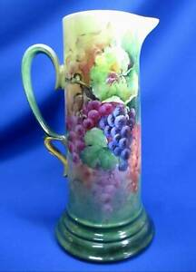 HAND-PAINTED GRAPE CLUSTERS LIMOGES TANKARD