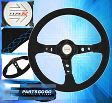 350MM JDM Steering Wheel Suede Leather Blue Stitching Honda Acura Type R