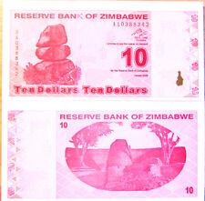 """BILLETE """"  ZIMBABWE   10   DOLARES   AÑO  2009   PLANCHA    UNC"""