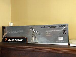 Celestron Astromaster 76EQ 76mm Model #31035, w German Equatorial Mount N Tripo