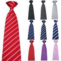 Men Business 8cm Wide Zipper Tie Striped Plaids Polka Dots Pre-tied Necktie