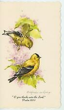 VINTAGE GOLDFINCHES BIRDS PURPLE LILAC BUSH TREE PSALM  BIBLE VERSE CARD PRINT