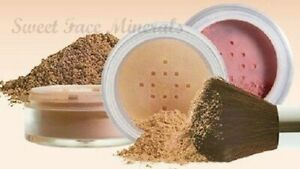 4pc (WARM) KIT w/KABUKI BRUSH Mineral Makeup Bare Set Matte Foundation Powder