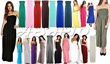 Womens Ladies Strapless Maxi Sheering Boob tube Bandeau Gather Long Dress Top