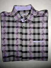 BRANDOLINI Black White Plaid Purple Floral Mens Collar Button Dress Shirt XL