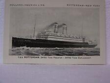OLD VINTAGE 1937 T.S.S. ROTTERDAM CRUISE OCEAN LINER SHIP HOLLAND LINE POSTCARD
