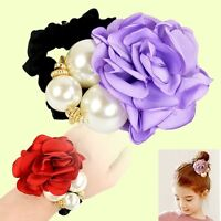 Girls Beads Rope Scrunchie Ponytail Rose Flower Pearl Holder Hair Band