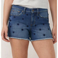 LC Lauren Conrad Womens Midrise Raw Hem Polka Dot Jean Shorts Summer Sz 10 NWT
