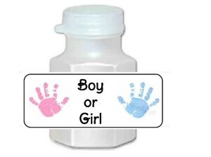 30 Gender Reveal Boy or Girl Pink and Blue Baby Shower Bubble Labels Stickers