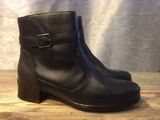Lassen Black Leather Ankle Boots Buckles Straps Size 38 / US 7