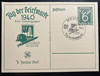 1940 Memel Germany First Day Postcard Cover FDC Postal Stamp Centenary WHW