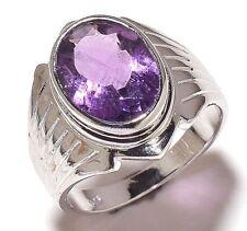 925 Sterling Solid Silver Amethyst Gem Stone Ring Men's Jewelery