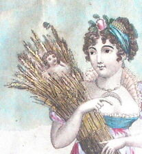Antique Victorian Framed Unusual FRENCH PRINT Young Woman Doll in Wheat Bundle