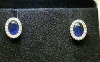 ORECCHINI oro bianco 18 kt  diamanti naturali 0.32 CT e zaffiri   1,20 ct