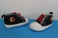 BABY GEAR Infant SNEAKER Crib Shoes~Black/Red ~Size 3-6 Month~ Flames accent
