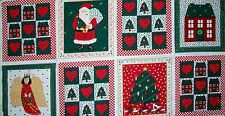 PANEL OF 8 COTTON FABRIC HOLIDAY NOVELTY SQUARES