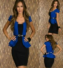 Sexy Blue Black Peplum Cap Sleeves Cocktail Party Dance Formal Dress Sz L 12 14