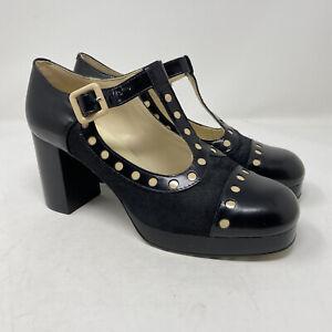 Clarks X Orla Kiely Dotty Black Leather Platform Mary Jane Shoes Size 8 New