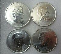 Lot 4 - 2011 2012 Canadian Maple Leaf Coin 1 oz .9999 Silver Canada $5 Bullion