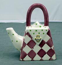 Decorative Designpac Purple White Checker Painted Ceramic Purse Handbag Teapot