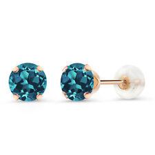 1.00 Ct Round 5mm London Blue Topaz 10k Rose Gold Stud Earrings