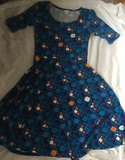 LuLaRoe Medium Geometric Blue Nicole Dress ~Beautiful