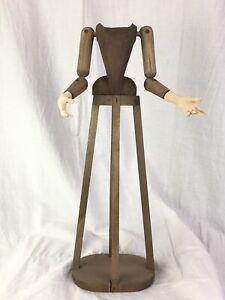 Madonna Manichino Gabbia Stile '600 Vintage Wood Statua Santa 37 Cm Dummy