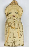 Primitive WWI US Soldier Doughboy Pin Cushion Doll Antique Rag Filled Handmade