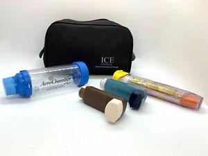 ICE Medical Black Inhaler Medication Bag - Epipen, Spacer, Travel or Home
